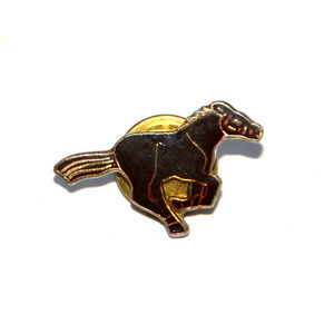 SOLD vintage brown gold enamel horse scatter pin